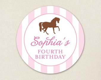 Pony Party / Horse Party - Custom Stickers - Sheet of 12 or 24