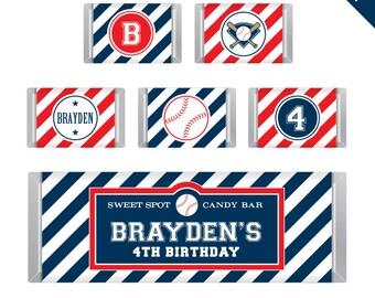 Baseball Party - Personalized DIY printable Hershey bar labels