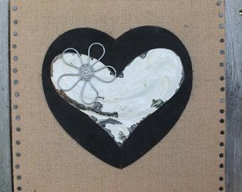 burlap, leather and ceiling tin heart handmade wall decor
