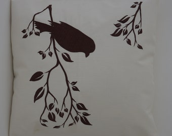 "Bird On Branch Pillow Cover, Embroidery, Spring Pillow, Summer Pillow, Decorative Pillow, Accent Pillow, 18""x18"", Natural, Ready to ship"