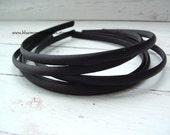 Set of 2 ~ 7mm Black Satin Headbands