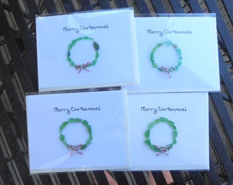 Chrsitmas Wreath Cards Lake Erie Beach Glass
