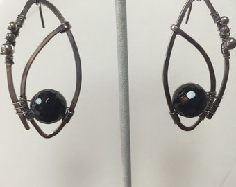 Black Onyx Wire Wrapped Sterling Dangles