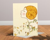 Autumn Card - Tree Card - Animal Greeting Card - Childrens Card