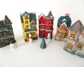Vintage Miniature Porcelain Village Set Possibly Made in Japan