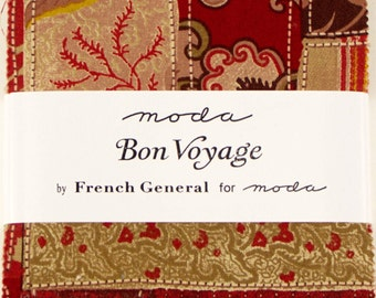 """BON VOYAGE Charm Pack by French General for Moda Fabrics 13700PP 42 5"""" Fabric Squares"""