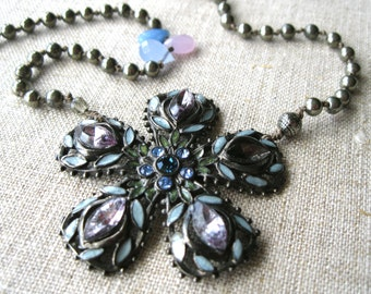 Baroque - Floral Boho Statement Necklace - Beaded Knotted Strand Necklace - Bohemian Up-cycled Necklace - Purple Violet - Eco-friendly