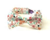 Mint & Peach Mini Floral Kid's Bow Tie - Any Size Boy's Bowtie - Green Pink White Grey Orange