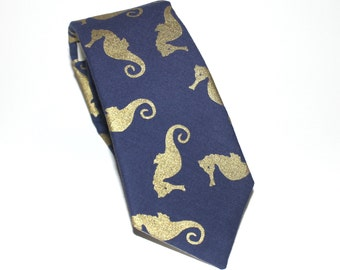 Navy & Gold Seahorse Tie - Men's Necktie - Navy Blue and Metallic Gold Seahorses