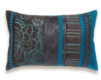 Teal Blue Dark Chocolate Brown Lumbar Pillow Case 12 x 18 in IRMA DESIGN Limited Edition
