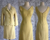 Vintage 1960s Dress with Jacket 60s Dress Wiggle Dress Fitted 1960s Cocktail Dress Yellow Dress Frank Usher Womens Size Small