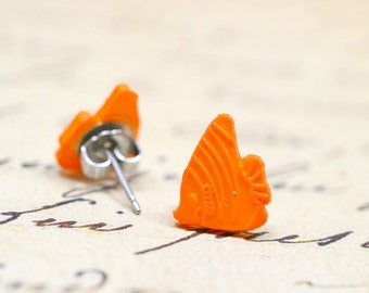 Tiny Orange Fish Earrings, Small Tropical Angelfish Studs, Tangerine Orange Beachy Summer Jewelry