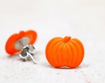 Small Pumpkin Earrings, Orange Pumpkins Stud Earrings, Food Jewelry, Autumn Orange Halloween Jewelry, Fall Fashion, Thanksgiving Jewelry