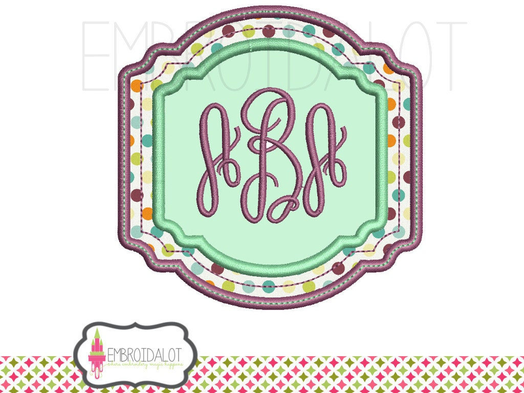 Monogram frame applique embroidery design style by
