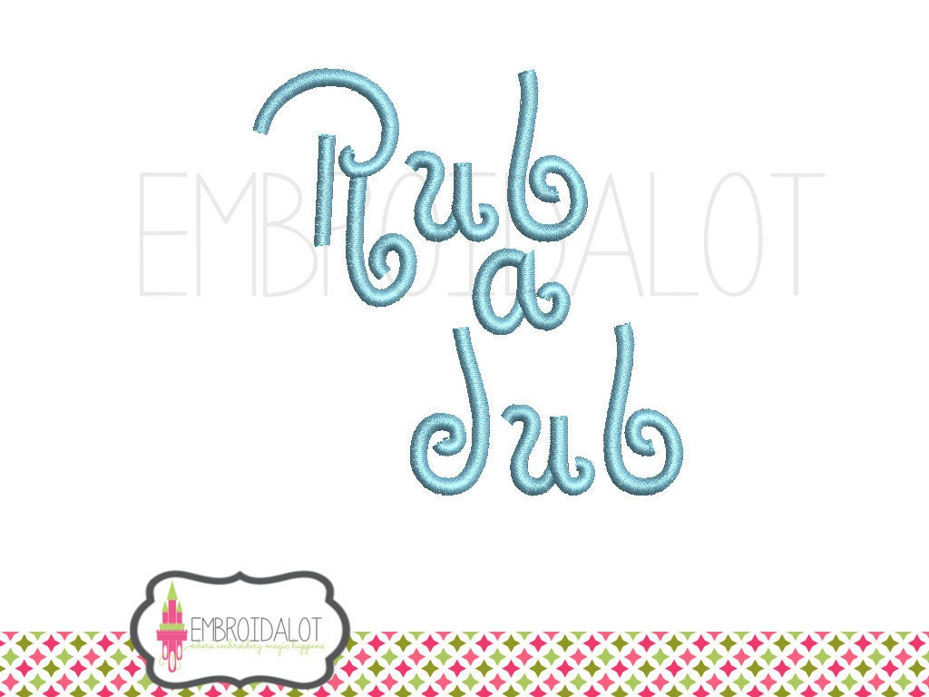 Bath time embroidery design rub a dub text by embroidalot for Bathroom embroidery designs