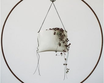 Hanging Porcelain Air Plant Planter with Black Stitching for the Modern Rustic Home//Hanging Pillow Planter
