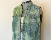 Green Small Denim VEST - Apple Green Dyed Upcycled Bobbie Brooks Denim Vest - Adult Womens Size Small (38 chest)