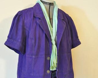 """Violet 18W XL Denim JACKET - Purple Hand Dyed Upcycled Gitano Denim Blazer Jacket - Adult Womens Plus Size Extra Large (52"""" chest)"""
