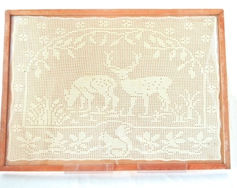 Framed Filet Lace Deer, Sofa Size, Flower and Squirrel Motif Border, Cream White and Rough Brown, Rustic Woodland Decor