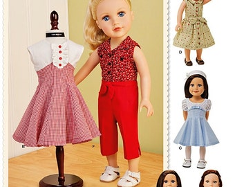 18 inch Doll Clothes Pattern, Vintage Style 18 inch Doll Clothes Pattern, Simplicity Sewing Pattern 1086