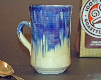 Coffee Mug, Ceramic Mug, Pottery Handmade, Blue and Green, Ceramics and Pottery Mug, Tea Cup, Soup Mug