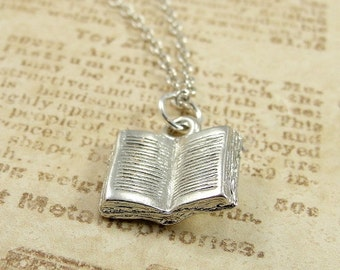 Open Book Necklace, Silver Plated Open Book Charm on a Silver Cable Chain