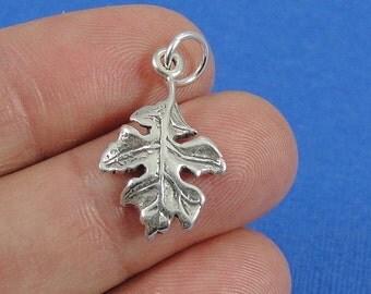 Oak Leaf Charm - Sterling Silver Oak Leaf Charm for Necklace or Bracelet
