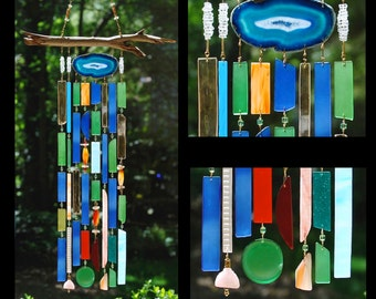 Wind Chimes Recycled Beach Glass Sea Glass Suncatcher Driftwood Wind Chimes Stained Glass Sun Catcher - Teal Tranquility