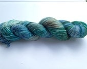 Hand Dyed Yarn - Merino / Nylon / Stellina Sparkle - Fingering Weight / Sock Weight Color Change - speckled turquoise aqua brown