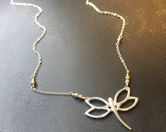 Dragonfly Mixed Metal Necklace