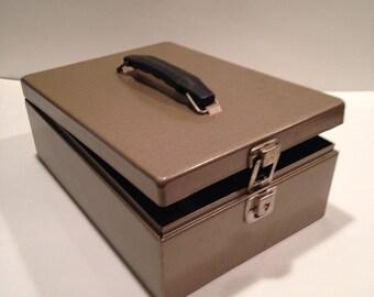Vintage Metal Box, Document Box, Cash Box, Industrial Home Decor, Storage Box