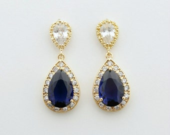 Gold Bridal Earrings Sapphire Blue Wedding Jewelry Something Blue Cubic Zirconia Teardrop Earrings Blue Wedding Earrings