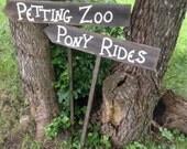 Two Rustic Wood Children's Birthday Party Sign on Stake Pony Rides Petting Zoo
