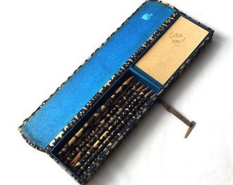 vintage 1960's washi pencil set box case pads paper japan navy blue cream geometric design bone mid century modern retro office decorative