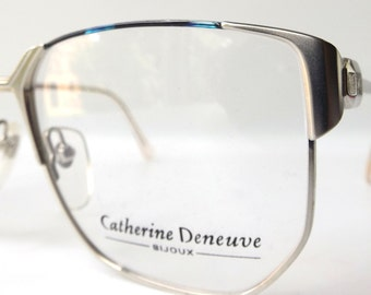 vintage 1980's NOS eyeglasses catherine deneuve matte silver metal frames blue black womens modern eye glasses accessories prescription