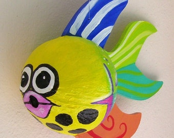 Coconut Fish Tropical Fish Hand Painted and Hand Crafted Yellow Palm Seed Pod