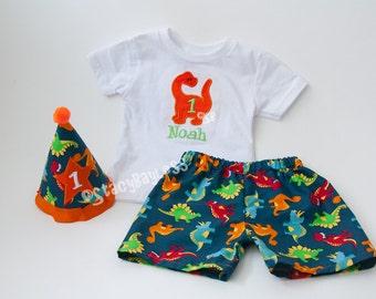 Custom Dino Cake Smash Set for Fallon - hat, tie, diaper cover