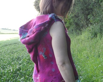 Felted Wool Vest with Pixie Hood and Curly Locks - Magenta Red and Blue - Wool and Silk