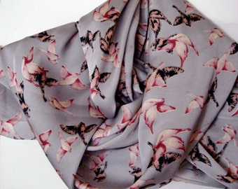 Animal print scarf,Gray Bird Scarf Gray Bird Print Scarf Infinity Scarf Loop Scarf