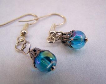 Turquoise Iridescent Glass Dangle Earrings Doodaba