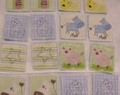 SALE Farm Yard Friends Fabric Flash Cards/Memory Game Learning-School-Preschool-Blue Felt backing.