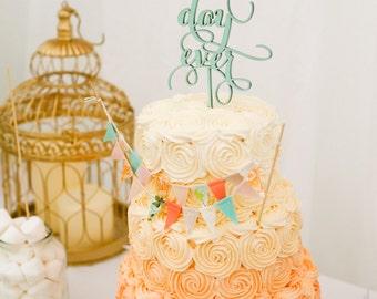 Pink Aqua and Peach Fabric Cake Bunting Topper Decoration / Romantic Festival Wedding Decor / Vintage Wedding Bunting Decoration