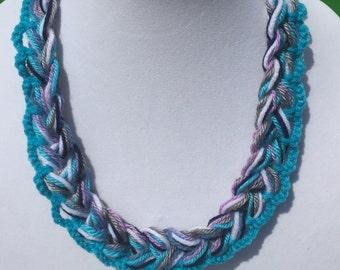 Single Chain Knit Necklace Handmade Dark Blue Navy Turquoise Grey Lavender White Soft Fashion Trendy Crochet Multistrand Ready To Ship