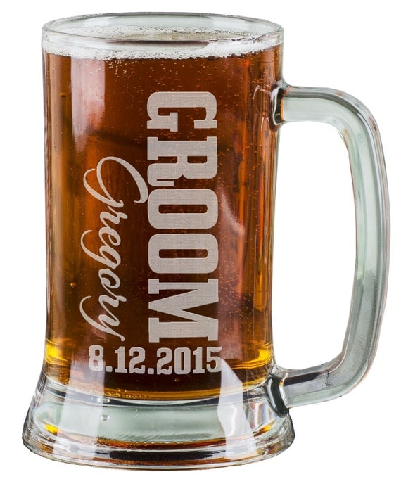 Engraved Wedding Mugs : 16 Oz Groomsmen Beer Mugs Engraved Wedding Party Groomsman Best Man ...