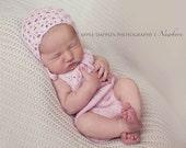 Newborn Photo Prop - Knit Newborn Romper and Bonnet - Sweet Daisy Angora  Knit Romper Set