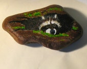 Painted rocks, art and collectibles, raccoon,acrylic