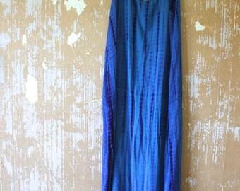 vintage.  Blue Tie Dye MAXI Dress  / Rayon Dress / Free Size
