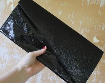 vintage.  Retro Black Patent Leather Clutch / X Large Clutch