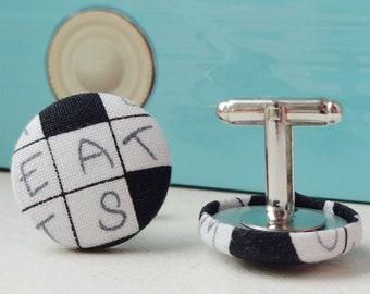 Crossword Cufflinks, puzzle fabric, nerdy wedding, grooms & groomsmen gift