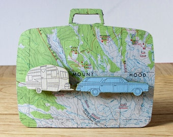 Wanderlust Wall Plaque- Wagon and Vintage Trailer Map Travel Art